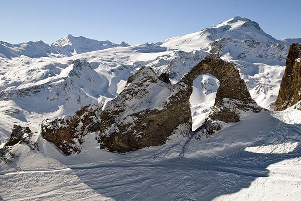 L'Aiguille Percée, rock in Tignes, France