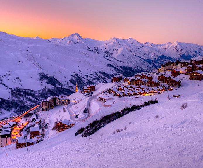 Les Menuires ski resort at sunset