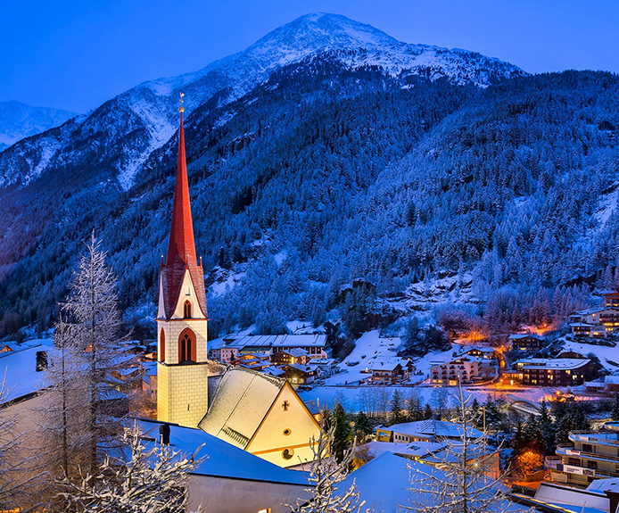 Nighttime view of Solden, Austria
