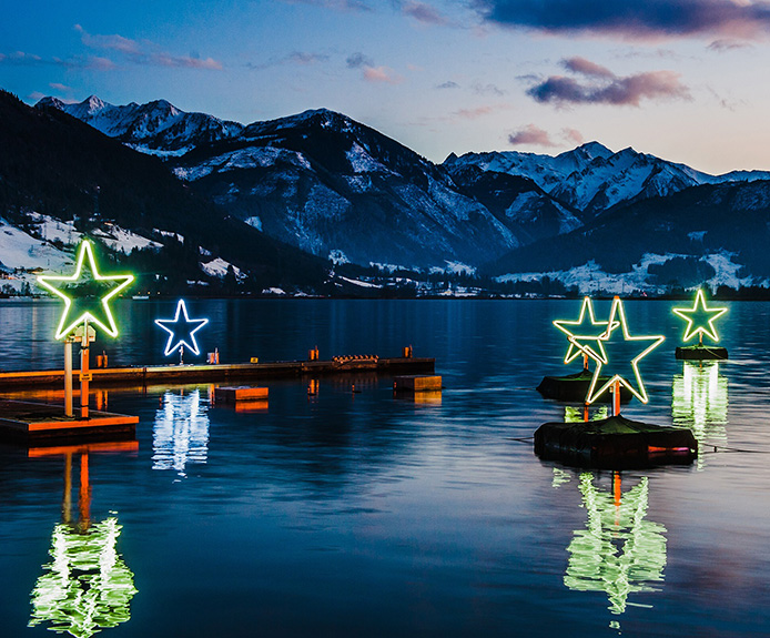 Star lights on the lake in Zell am See, Austria