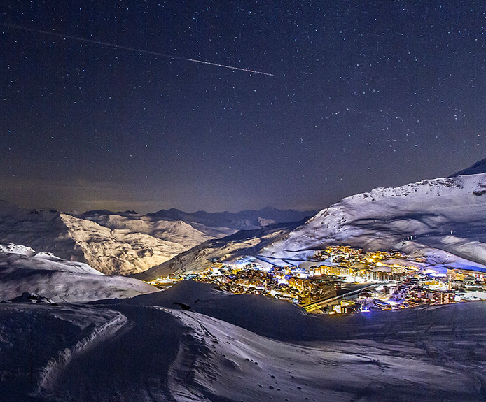 Nighttime view of Val Thorens, France