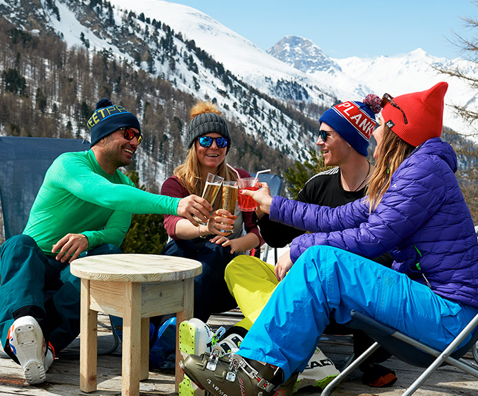 Friends drinking in a mountain bar