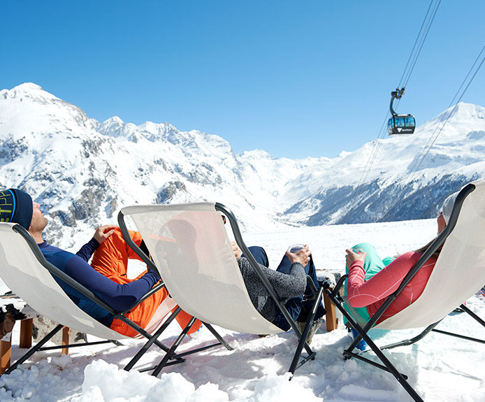 Deckchairs in a ski resort