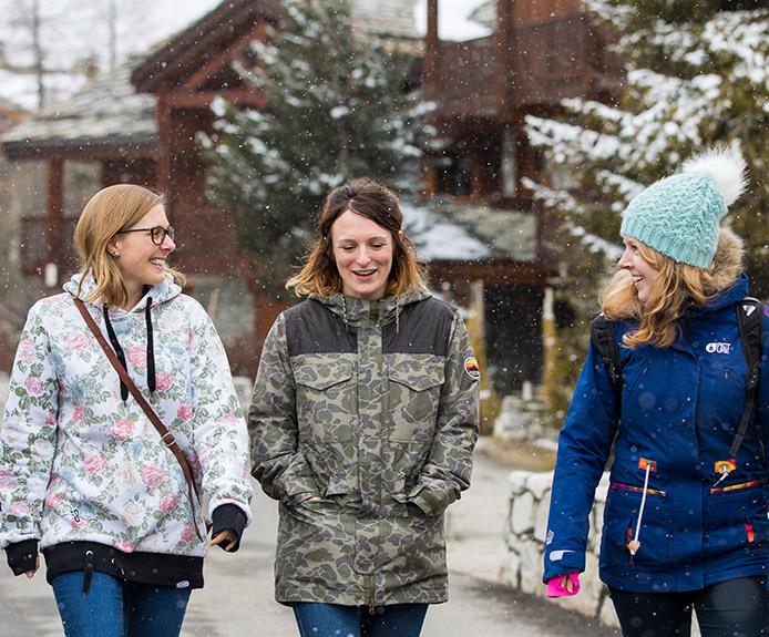 Walking through a ski resort