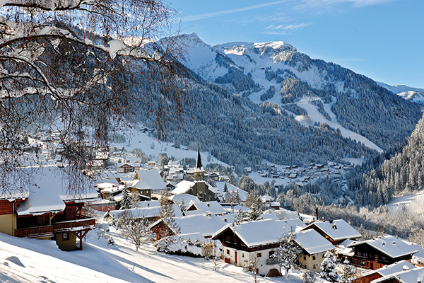 snow covered village