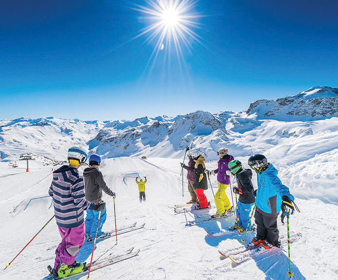 Group skiing in Tignes