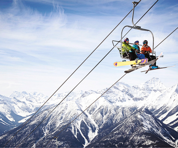 Family on chairlift in Panorama