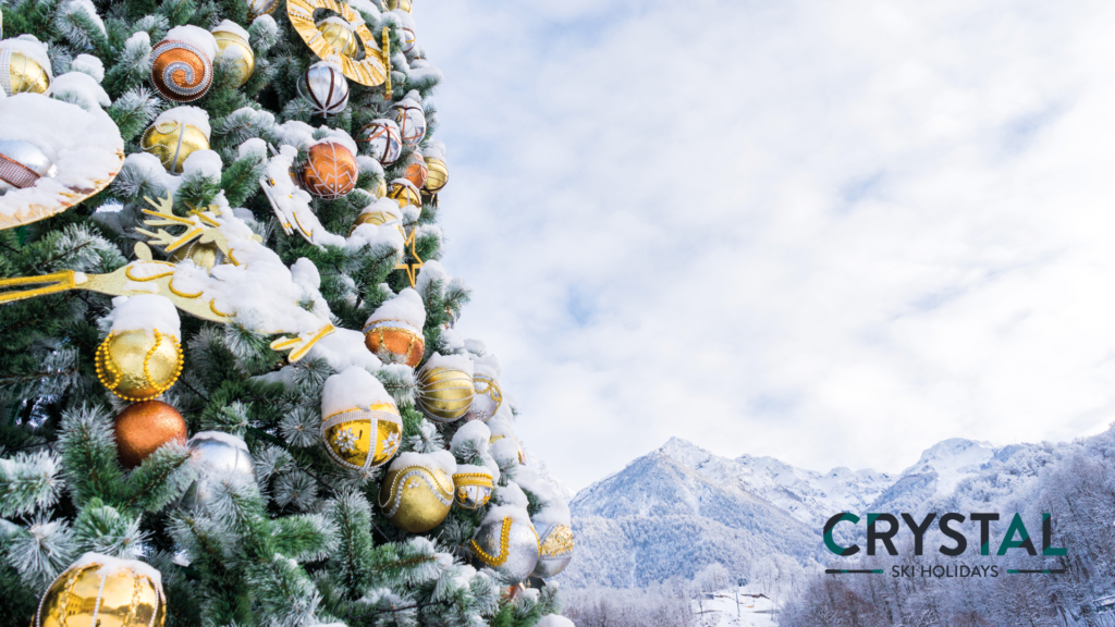 Christmas tree in mountains zoom background