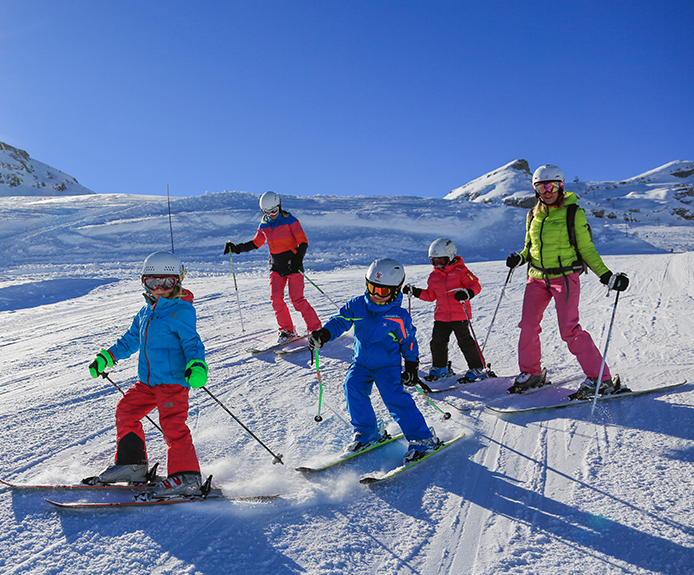 Family skiing in Flaine, France