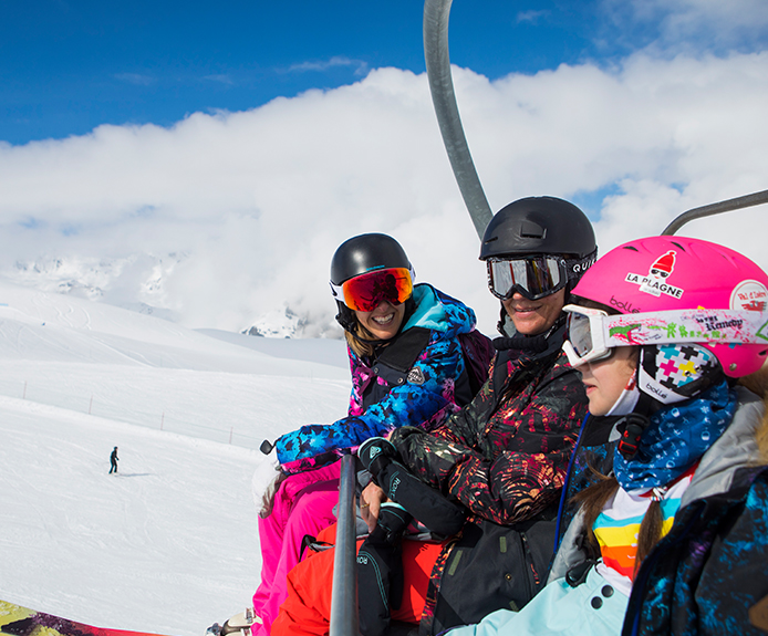 Family on a chairlift