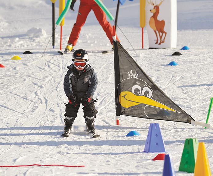 Child skiing in Obergurgl, Austria
