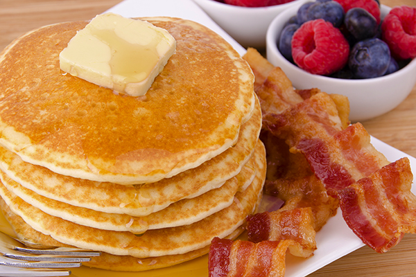 Buttermilk pancakes with bacon